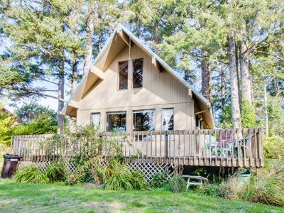 Photo for Peaceful, dog-friendly A-frame cottage with rustic tree-lined views