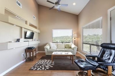 Living - Quality furnishings and a flat-screen TV provide a perfect spot to relax after a day on the lake.