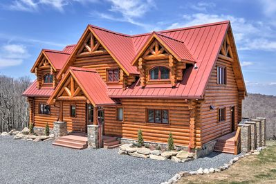 This 4,650-square-foot cabin boasts stunning views from the wraparound deck.