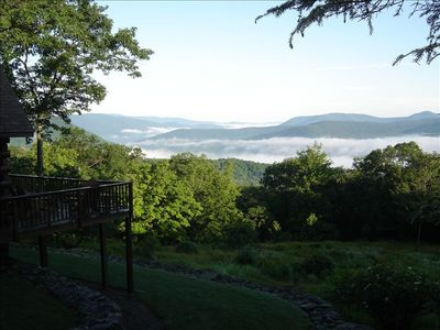 Photo for Catskill Mountain Log Cabin, Breathtaking Vista, Private, Relaxing
