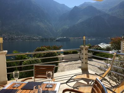 Ground Floor. Private Terrace, Shared Pool, Views across Fjord to Kotor Old Town