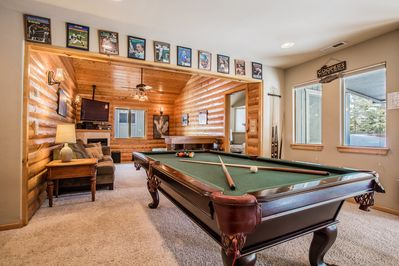 Shoot pool and gather together in this beautiful pool and game room