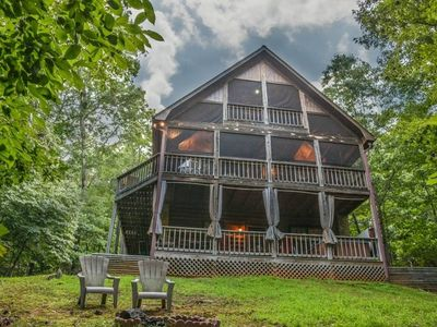 Photo for 3BR/3BA- SECLUDED CABIN SLEEPS 10, PET FRIENDLY, POOL TABLE, HOT TUB, GAS GRILL, FIRE PIT, SATELLITE
