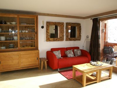 Photo for Surface area : about 60 m². Living room with bed-settee or pull-out sofa, TV