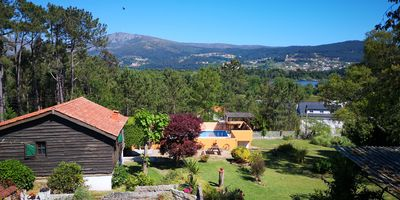 View from Rosal Lodge towards Pool, Rio Mino and Portugal.