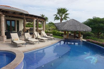 View of pool and palapa