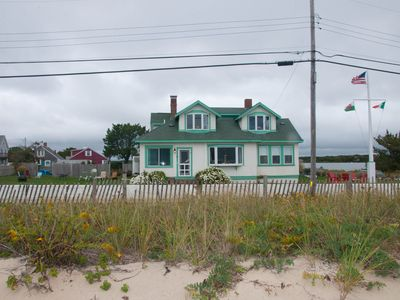 Ocean front with private beach in Falmouth, large lawn