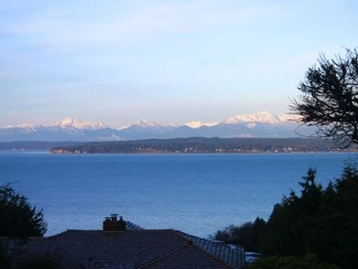 View of Olympic Range and the Puget Sound from the front rooms.