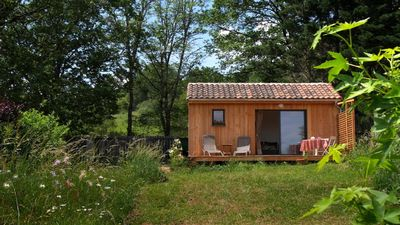 Photo for The Ensoleillade Ecological small wooden chalet of 19m2 in garden with view.