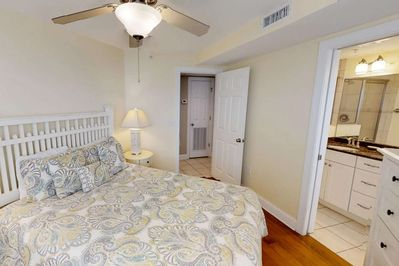 The relaxing master bedroom with queen sized bed and en-suite bathroom.