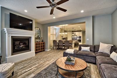 Living Room View - relax next to the fire in this spacious living room after a long day.