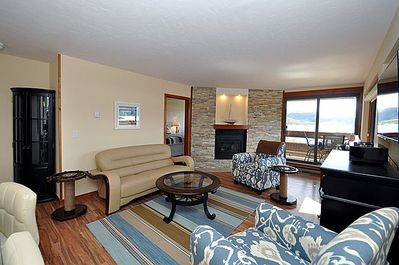 Lake front/mountain  view from Living area and gas fireplace w/ remote