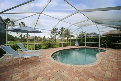 Extended paved lanai and pool