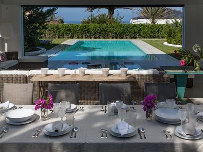 Photo for Pure luxury: space, design, and finishings. Sea views, dream pool, 100m to beach