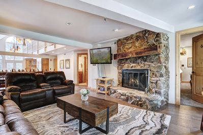 Relax by the gas fireplace in the main floor living room.