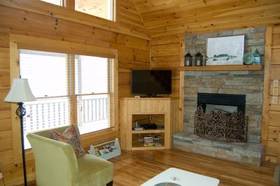 Living Area with Flat Screen TV, Gas Fireplace and Sleeper Sofa
