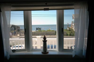 A view of the ocean from the front room of the condo