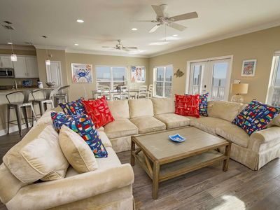 Photo for Spring Into A Vacation ~ Gulf Front ~ 5 BR ~ Private Pool ~ Sleeps 21 ~ Sea Le Vie Beach House