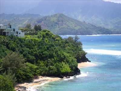 Hideaway beach below the property; Hanalei Bay beach is within walking distance