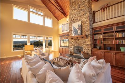 Living Room with a View of rolling hills, vineyards, horses and cattle