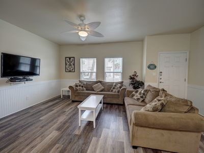 Living area with queen size sleeper sofa