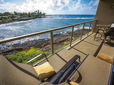 Photo for Kauai Oceanfront Condo--Our Poipu 'Jewel on the Sea', with AC, swimmable beaches