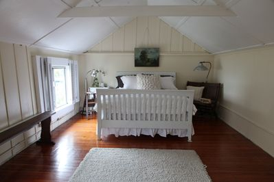 Same bedroom but with  a new bed, Belgian linens and organic duvets