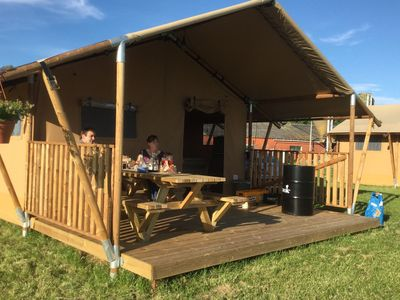 Photo for Luxurious tents with private sanitary facilities and kitchen, in a holiday park