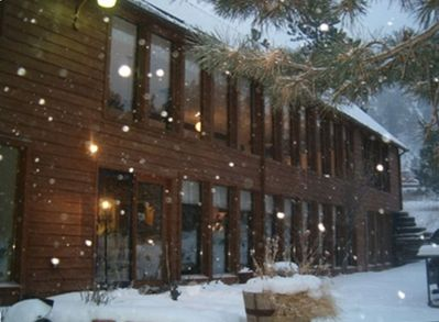 Oh, the fun of Colorado winter - snow settling over our spacious yet cozy home.