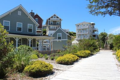 Front of House in front of the Boardwalk and Stairs to the Beach Access