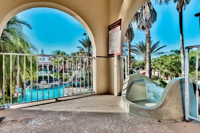 Regal Palms lazy river and water slide.