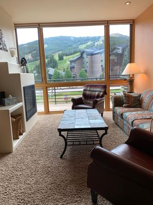 view of ski slopes from living area.