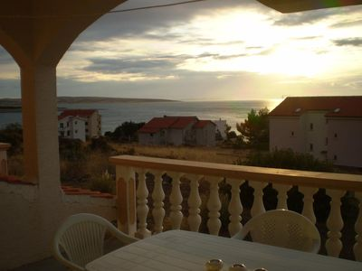 Photo for Two bedroom apartment with terrace and sea view Povljana, Pag (A-224-b)