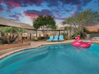 Photo for NEW LISTING! Elegant, dog-friendly getaway in the desert, pool, hot tub, firepit