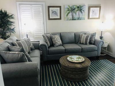 Living room with queen sleeper couch