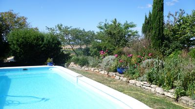 Photo for Bright and quiet house with panoramic views of the Pyrenees & private pool