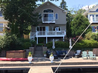 View of the Lake House from the 50 ft dock.  The house is right on the lake