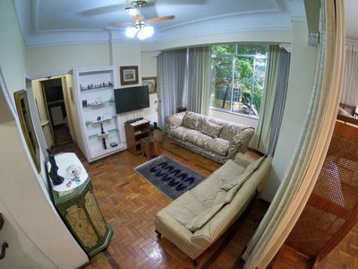 Photo for Large apartment, furnished, 1 block from Copacabana beach.