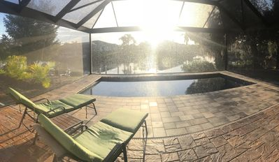 Sunrise at the heated pool that overlooks the canal.