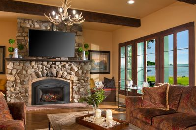 This impressive cobblestone fireplace is over 100 years old.