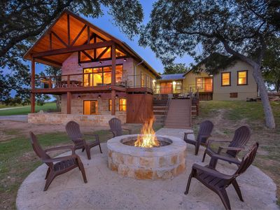 Photo for Blanco River Retreat - 2 Houses on 6 easy & private riverfront acres (SLEEPS 23)