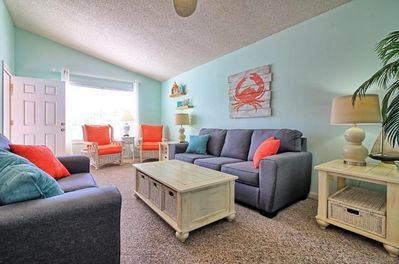 Comfortable living room with new queen size sofa sleeper