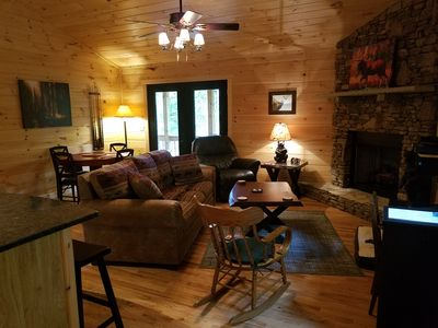 Be Our Guest is the Most relaxing cozy 2 bd 1 ba cabin with wood and  privacy.