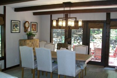 Dining room with French doors which can be thrown open to the outdoors