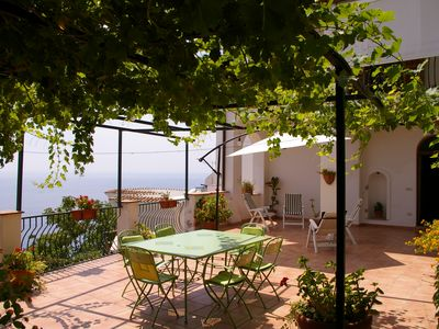 Photo for Very nice house with large terrace and sea view only 6 km from Positano
