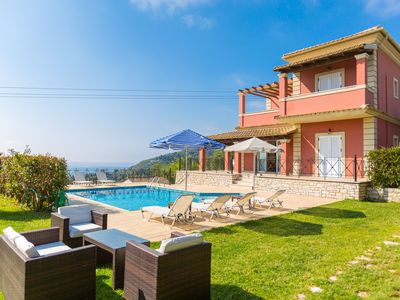 Photo for Villa Eleni Agios Stephanos: Large Private Pool, Walk to Beach, Sea Views, A/C, WiFi, Eco-Friendly