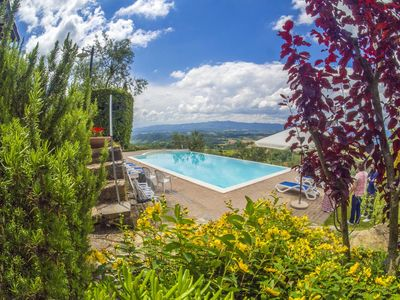 Photo for Lovely apartment in villa with pool, WIFI, A/C, TV, pets allowed, panoramic view and parking