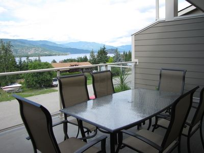 views of Shuswap lake and Copper Island while you enjoy dinner outside