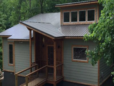 Photo for SERENE ON THE STREAM is a modern luxury cabin that overlooks a  flowing stream!