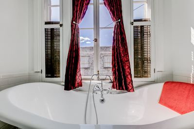 """Victorian Bathroom"" features a clawfoot tub that comfortably seats 2 :-)"